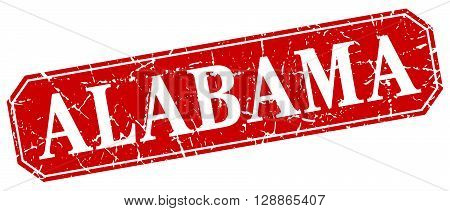 Alabama red square grunge retro style sign