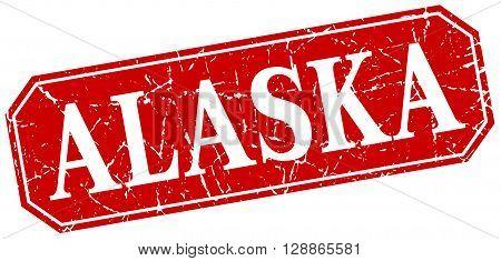 Alaska red square grunge retro style sign
