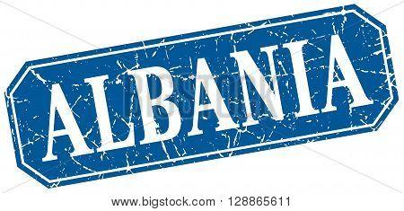Albania blue square grunge retro style sign