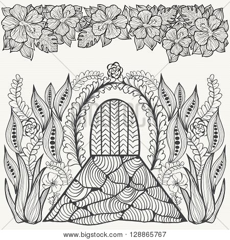 Hand-drawn Black and white abstract fantasy picture. Flowers leaf and door. Gardening theme. Vector ethnic pattern can be used for wallpaper pattern fills coloring books and pages for kids and adults.
