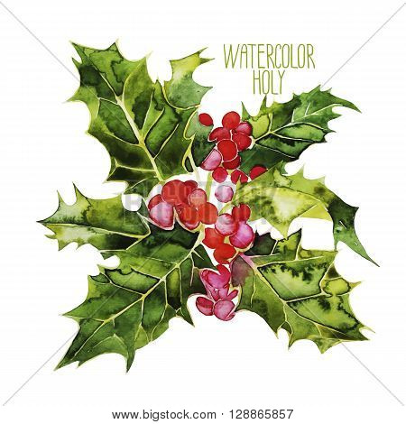 Watercolor vector cranberries isolated on white background