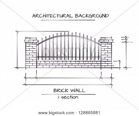 Vector Architectural Background. Drawing Of Classic Brick Fence