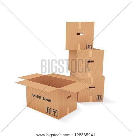 Color Vector Realistic Illustration Of Empty Cardboard Boxes Pile