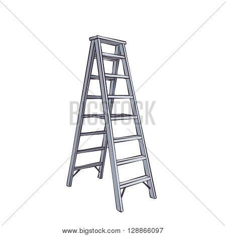 Color Cartoon Double Ladder From Steel. Illustration Isolated On White
