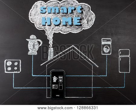 Smart House Concept Hand Drawing With Text.