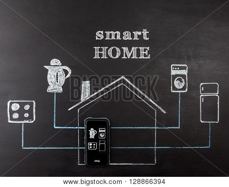 Smart home concept hand drawing on chalk board. Mobile phone controlling home appliances. Horizontal image with text.