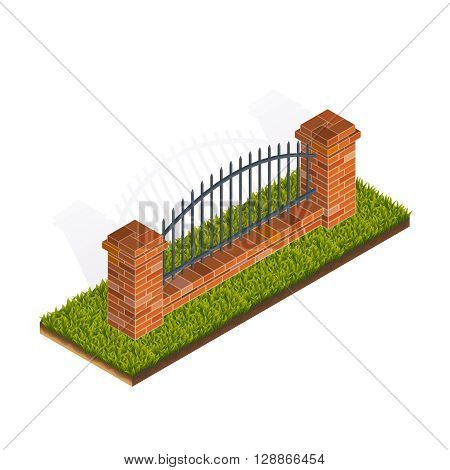 Vector Color Isometric Illustration Of Brick Fence For Ui Gui Games Interfaces
