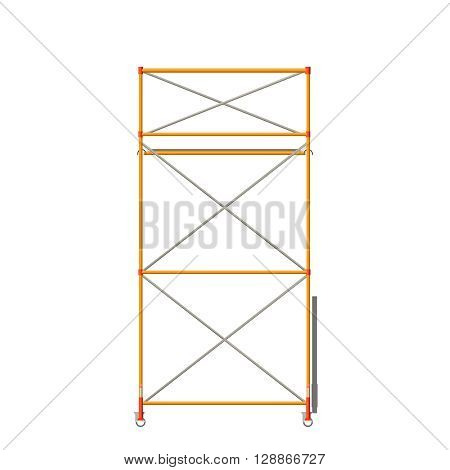 Vector Color Realistic Illustration Of Scaffolding Isolated On White. Front View