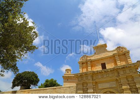 The Gate of in Mdina Malta southern Europe.