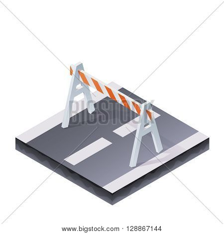 Color Isometric Traffic Barrier On The Road Illustration