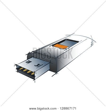 Color Vector Technical Drawing Of USB Flash Drive Design