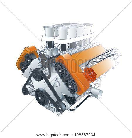 Color Vector Technical Illustration Of V8 Car Motor