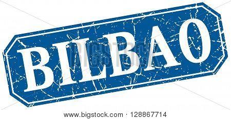 Bilbao blue square grunge retro style sign