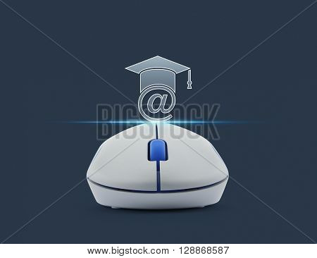 Wireless computer mouse with e-learning icon over blue background Study online concept