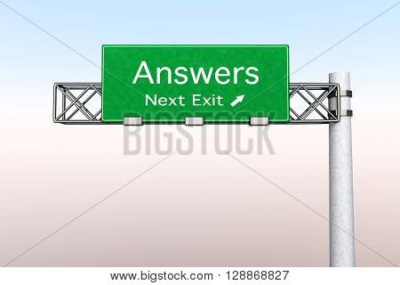 3D rendered Illustration. Highway Sign next exit to get Answers.