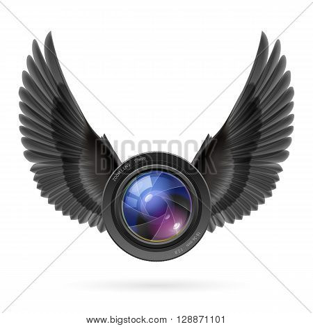 Photo camera lens with black wings emblem