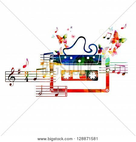 Colorful cassette tape design with butterflies. Vector illustration