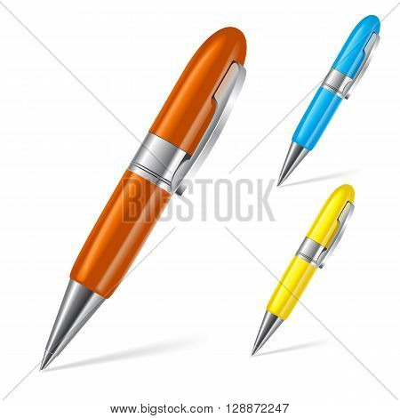 Set of three color ball point pens isolated on white background