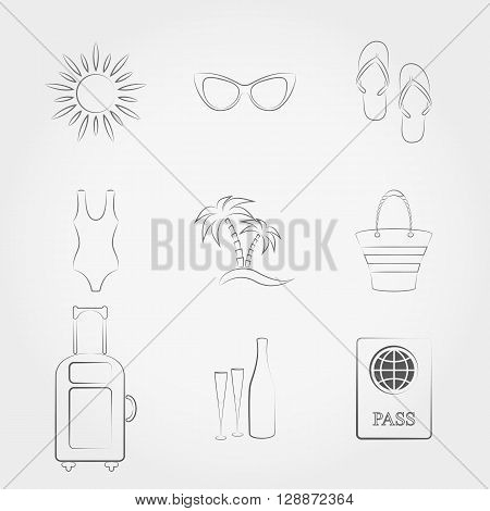 Simple line web icons set Summer travel and vacation. Vector illustration on a white background. Doodle, cartoon style.