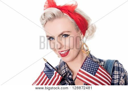 Excited Retro Woman Withusa Flags, Space For Text, Isolated On White