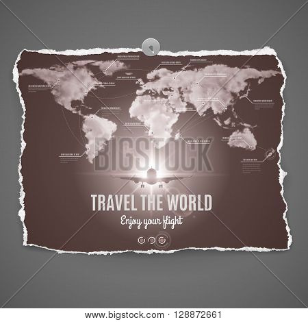Travel the world design on peace of old photo paper with continetsoceanplane and text-Enjoy your flight - over grey background