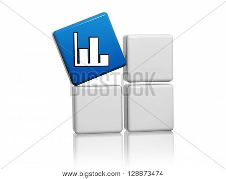 chart sign - 3d blue cube with white symbol on grey boxes business development concept