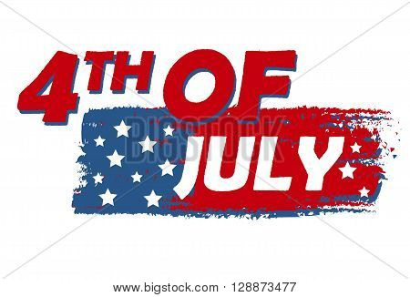 4th of July with stars over drawing flag banner - USA Independence Day american holiday concept