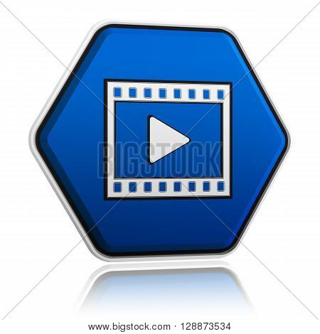 video player sign in 3d blue hexagon banner like button multimedia presentation concept