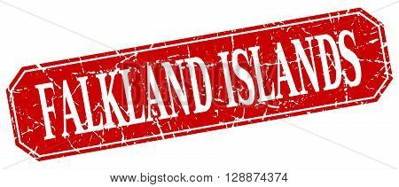 Falkland Islands red square grunge retro style sign