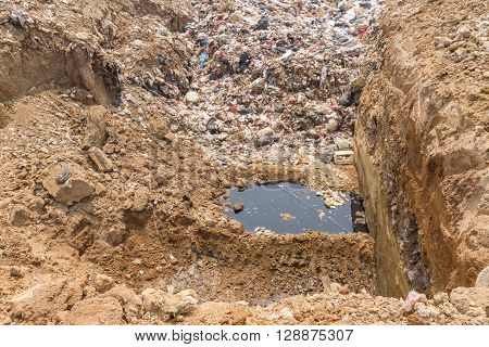 the garbage disposal pond in Mae hong son province Thailand