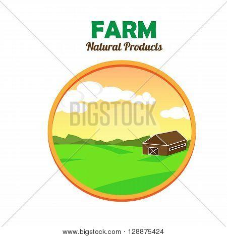 Farm flat landscape. Farm landscape concept. Farm field illustration. Farm natural product emblem. Farmland concept. Vector illustration