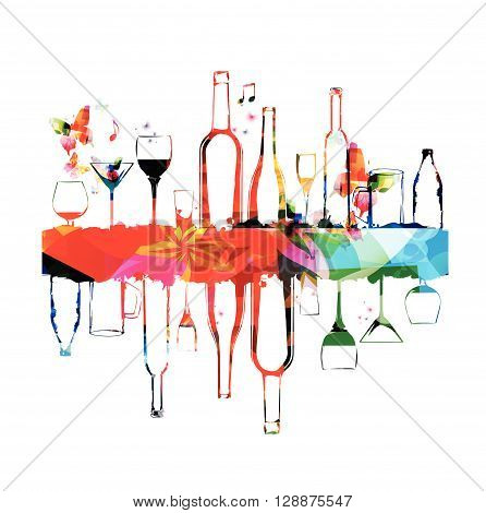 Vector illustration of colorful bottles with butterflies