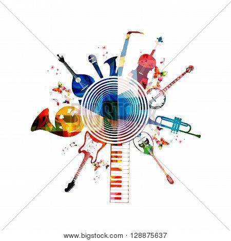 Vector illustration of colorful musical instruments with music notes