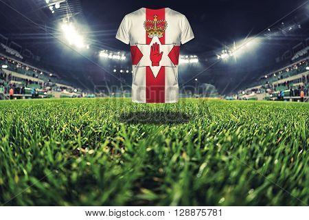 Northen Ireland national flag on t-shirt on football stadium