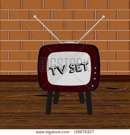 Room with retro tv. Retro TV set. Vector illustration