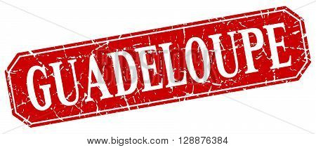 Guadeloupe red square grunge retro style sign