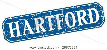 Hartford blue square grunge retro style sign