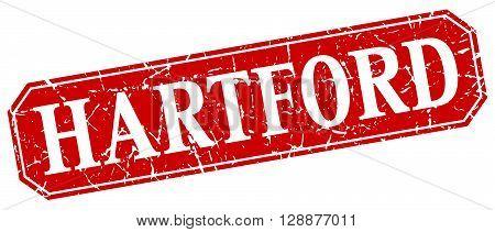 Hartford red square grunge retro style sign