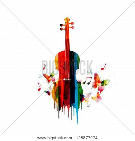 Vector illustration of colorful cello with music notes