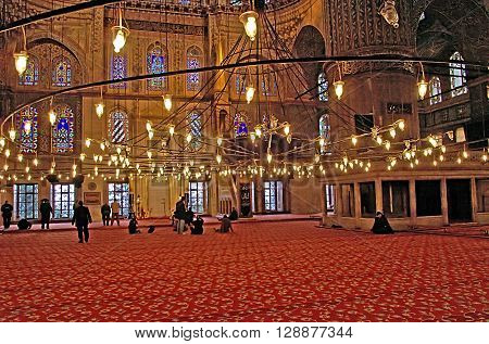 ISTANBUL, TURKEY - MARCH 08, 2008: The Blue Mosque (Sultanahmet Camii) in Istanbul, Turkey in the evening. It was built from 1609 to 1616 during the rule of Ahmed I. Its Külliye contains a tomb of the founder a madrasah and a hospice