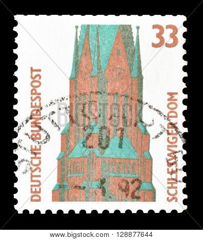 GERMANY - CIRCA 1989 : Cancelled postage stamp printed by Germany, that shows St Peters Cathedral in Schleswig.