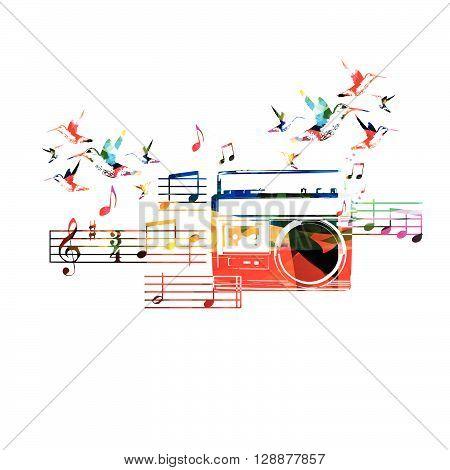 Vector illustration of colorful retro radio with hummingbirds
