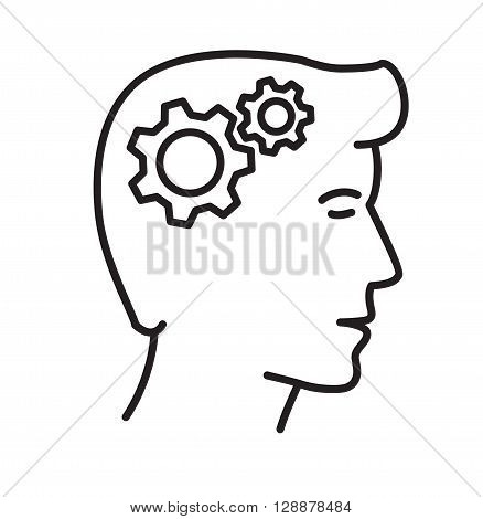 Vector illustration of  gears in head, thinking process.