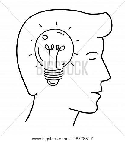 Vector illustration, light bulb in head icon, idea born .