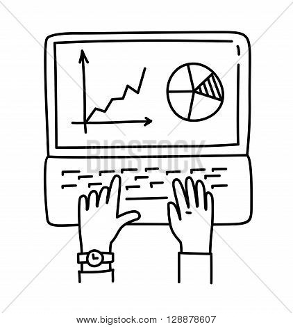 Vector illustration of Businessman analyzing graph, working on Laptop