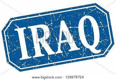 Iraq blue square grunge retro style sign