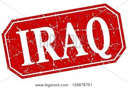 Iraq red square grunge retro style sign