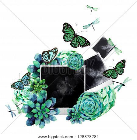 Vintage watercolor design with succulents, polaroid photo, butterflies and dragonflies. Summer mood