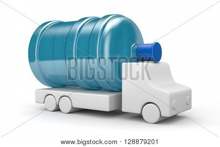 Truck for water delivery. 3d illustration