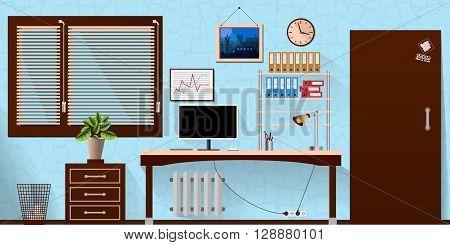 Flat Vector Interior Office Room In Blue Wooden Style. Vector Illustration